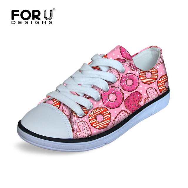 Pink Dounts Printing Flat Cycling Sport Sneakers Comfort Canvas Kids Athletic Shoes Low Top Lace Up Round Toe Shoe for Running