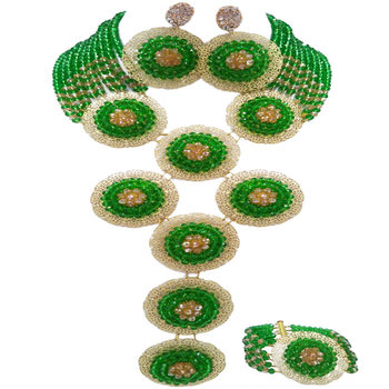 Green and Champagne Gold AB African Beads Jewelry Set Nigerian Necklace Wedding Jewelry Sets 9PHK03
