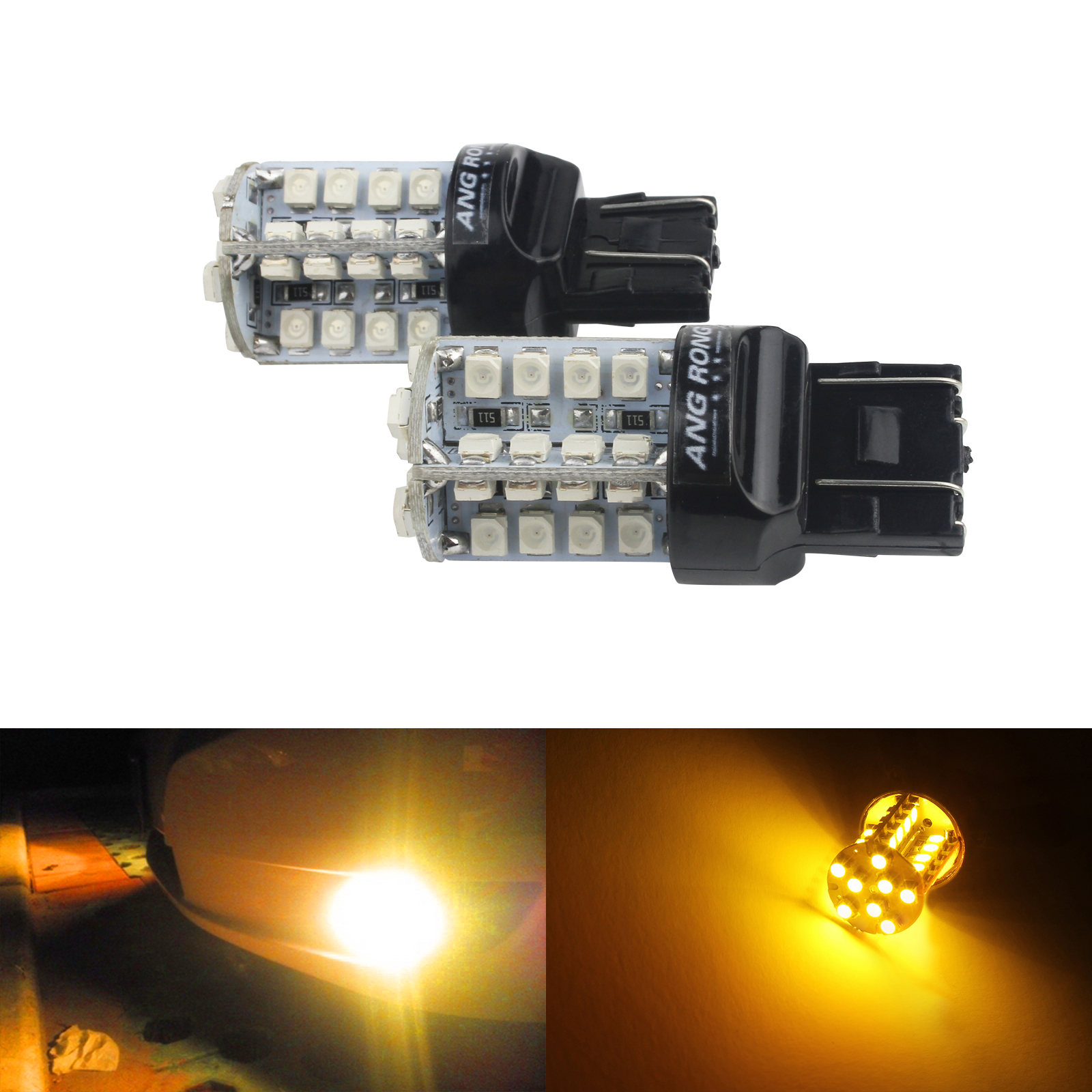 2x Amber 580 W21//5W 582 W21W Bulb 15 LED Sidelight Side Indicator Daytime Light