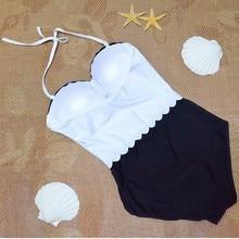 Sexy Black And White One-Piece Swimsuit Swimwear Women Bandeau Straps Monokini Swimming Suit Drop Shipping