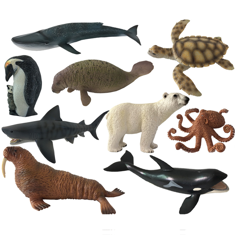 Action Figure Ocean Sea Animals Toy Octopus Turtle Polar Bear Penguin Kids Learning Educational Simulation Model For Kids ...
