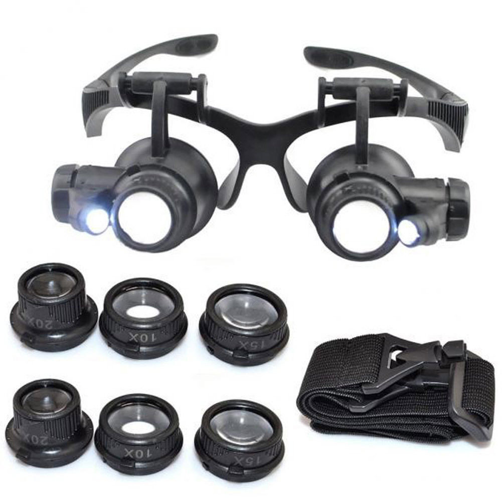 8 Lens Magnifier Magnifying Eye Glass Loupe Jeweler Watch Repair Magnification times 10x15x20x25with LED Light --M25