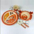 5 pçs/set Caráter Placa arco copo Garfos Colher Dinnerware Conjunto de alimentação do bebê, 100% de fibra de bambu Do Bebê crianças conjunto de talheres ykd-12