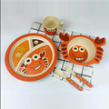 5pcs/set Character baby Plate bow cup Forks Spoon  Dinnerware feeding Set,100% bamboo fiber Baby children tableware set ykd-12