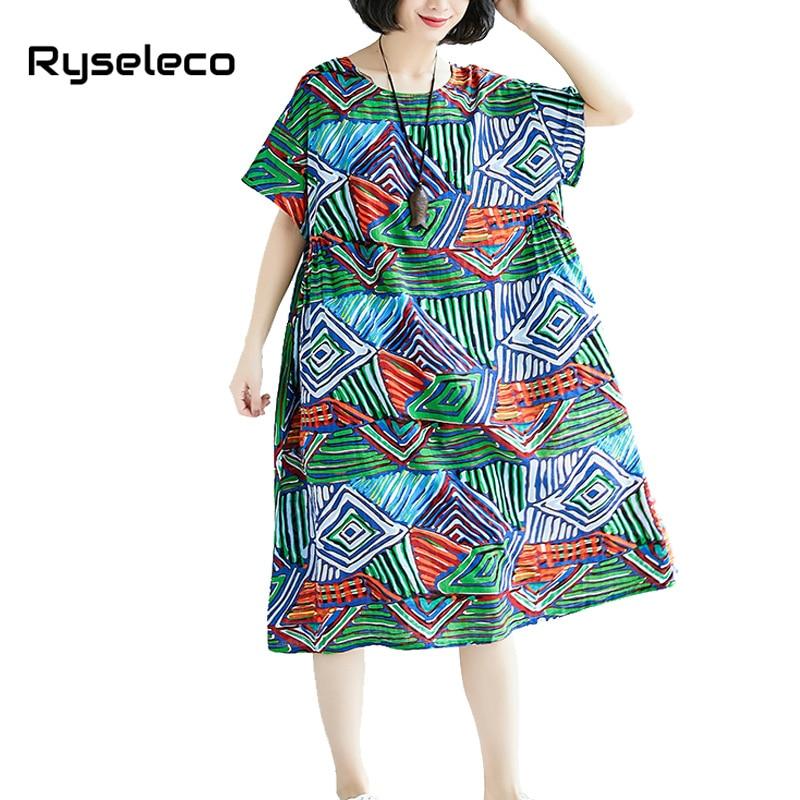 US $15.94 45% OFF|Women\'s Summer Dresses Female Geometric Strip Plaid  Prints Cotton Linen Plus size Loose European Clothes Women Big Midi  Vestidos-in ...
