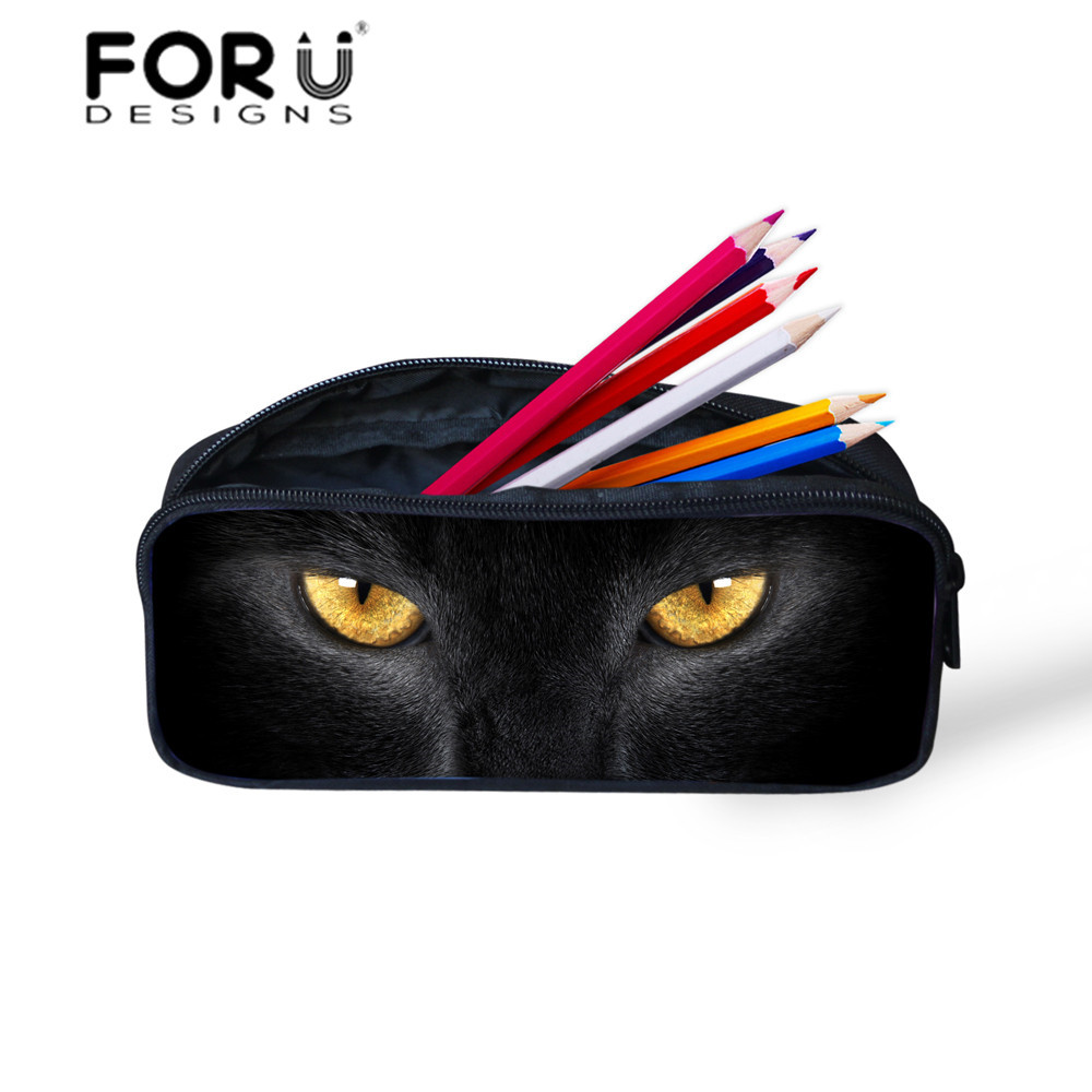 FORUDESIGNS Fashion Tumblr Cosmetic Bags for Women Girls School Make Up Bags Sleepy Cats Printing Animal Eyes Style Bag