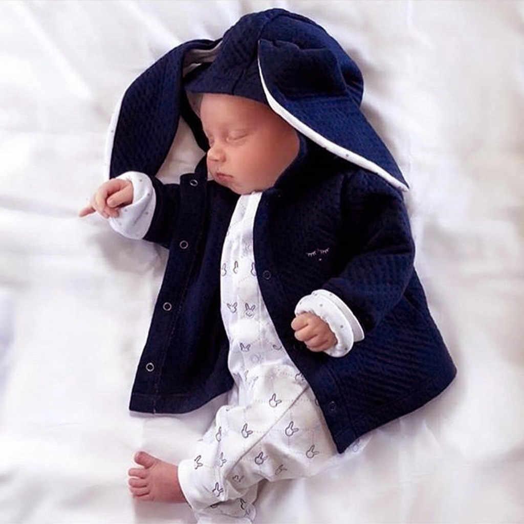 Nieuwe Corduroy Winter Baby Jas Pluche Voering Baby Sweatshirts Schattige Konijn oren Capuchon Baby Meisje Kleding Baby Tops