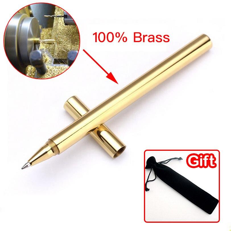 High Quality Luxury Gold Optional Minimalism Superfine Ballpoint Pen brass caneta stationery Copper ballpen Writing Office 03639
