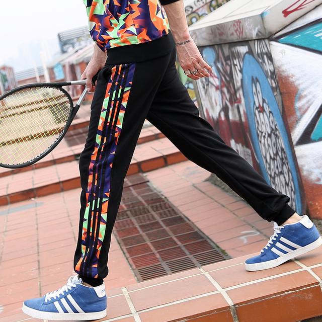 2016 Pantalones Cargo de los hombres ocasionales más tamaño push-up Colorido geometría patrones de banda L-4XL Loose Harem de Baile Hip Hop pantalones