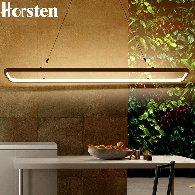 Modern Minimalism 120cm 46W Led Pendant Light Aluminum Circle Rectangle Ring Pendant Lamp Suspension Lamp For Dining Room Office