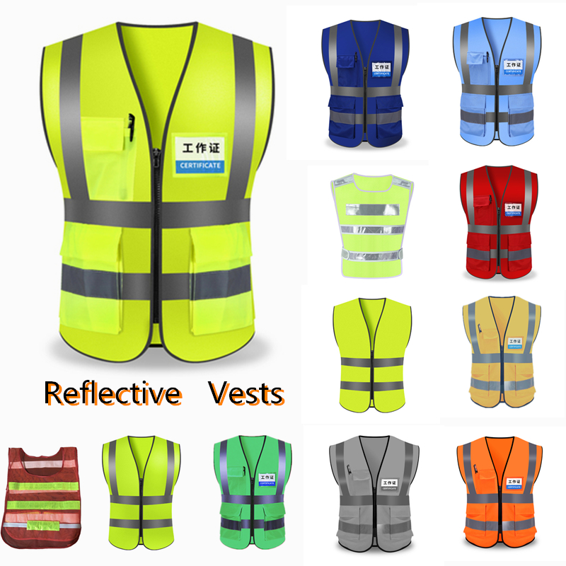 Unisex High Visibility Reflective Safety Vest Multi Pockets Workwear Safety Protective ClothingTraffic warning Mesh WaistcoatUnisex High Visibility Reflective Safety Vest Multi Pockets Workwear Safety Protective ClothingTraffic warning Mesh Waistcoat
