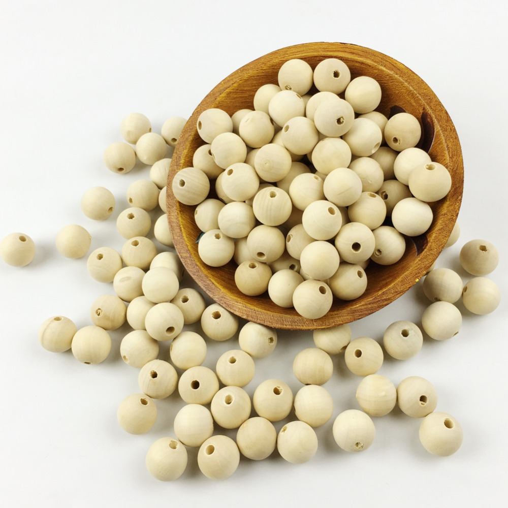 Jewellery round beads(16mm)small size Unpainted handmade raw wood ...