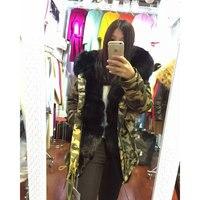Women fashion jacket winter outerwear furs coat fox fur collar black rabbit fox faux fur inside camouflage parka
