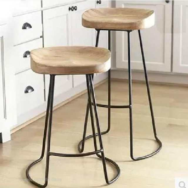 Terrific Us 71 8 Modern Simple Iron Foot Stool Surface Solid Wood Bar Stool Home High Chair Coffee Shop Cold Drink Shop Bar Stool In Bar Chairs From Ocoug Best Dining Table And Chair Ideas Images Ocougorg