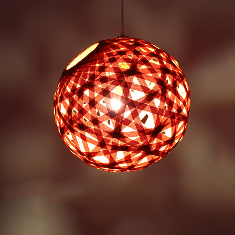 LED Chinese restaurant cloth art pendant light wine bar cafe room Creative personality Single head ball shape lamps and lanterns