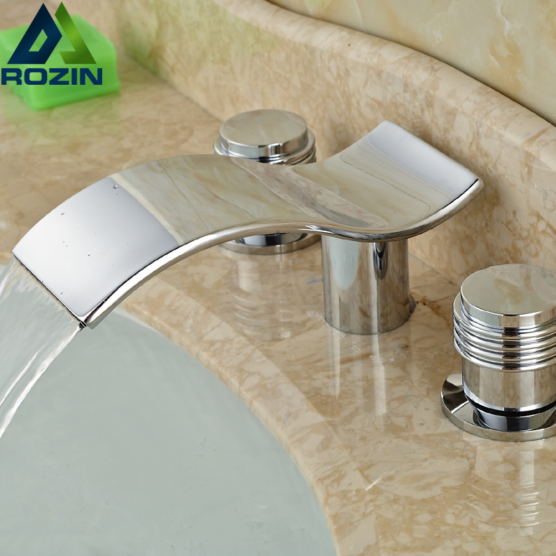 Chrome Widespread Brass Basin Faucet Waterfall Bathroom 3 Holes Face Sink Mixer contemporary designed chrome brass waterfall widespread bathroom basin faucet