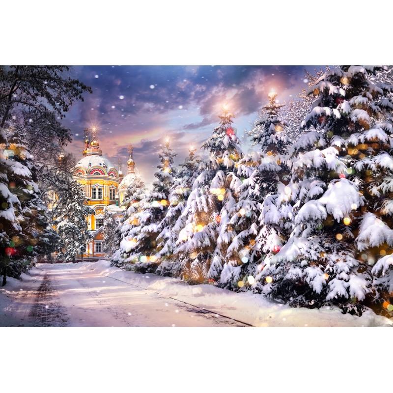 7x5ft Escena de nieve de Navidad Fotografía Telones de fondo Fondo - Cámara y foto - foto 1