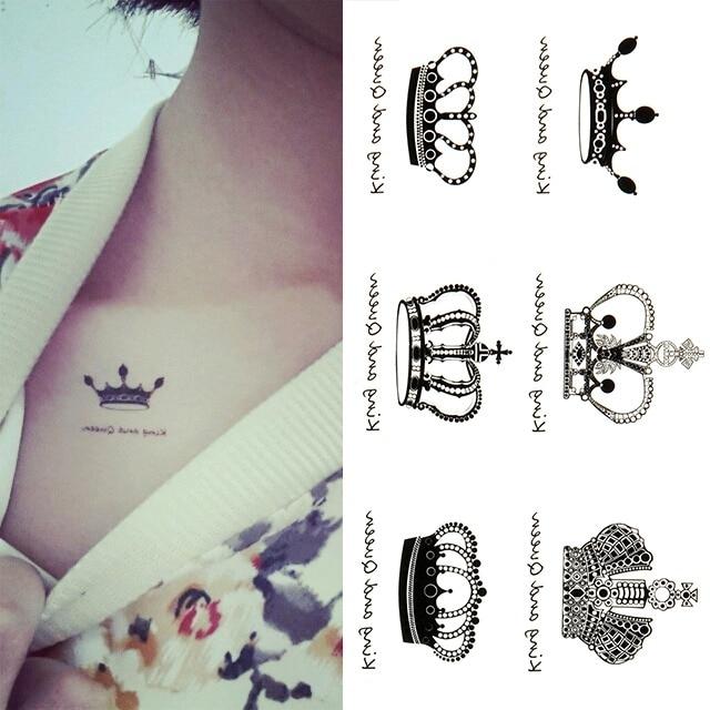 Promotion Creative Design Reine Roi Couronne Temporaire Tatouages
