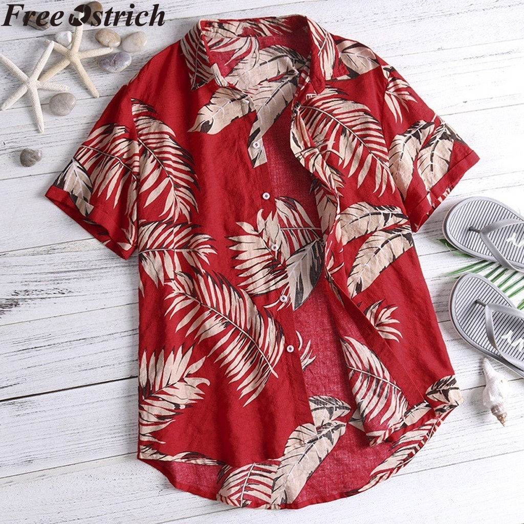 FREE OSTRICH Hawaiian style Men's short Sleeve Print Vacation Plus Size Casual