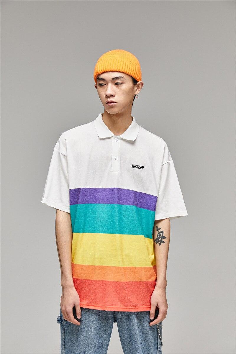 Rainbow striped short-sleeved bf couple short-sleeved   Polo   shirt men and women Hong Kong style art summer tide shirt