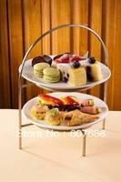 Style européen 2 Niveau Fer Métal Fruits Présentoir, Fournitures de cuisine de Support de Stand pour Alimentaire Dessert Pâtisserie Buffet Décoratif
