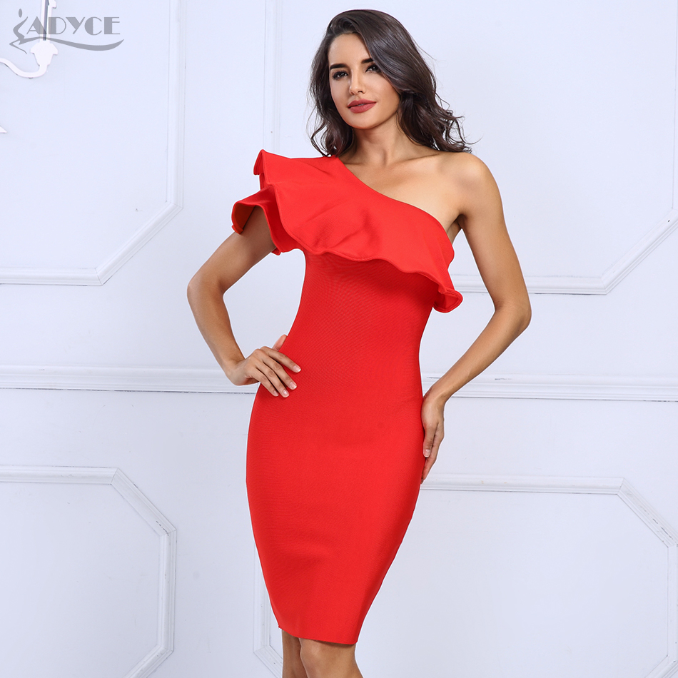 ec0df9e69a2 Adyce 2018 Sexy Summer Dress Women Clubwear Red Black One Shoulder Ruffles  Bodycon Dress Vestidos Celebrity Party Dresses-in Dresses from Women s  Clothing ...