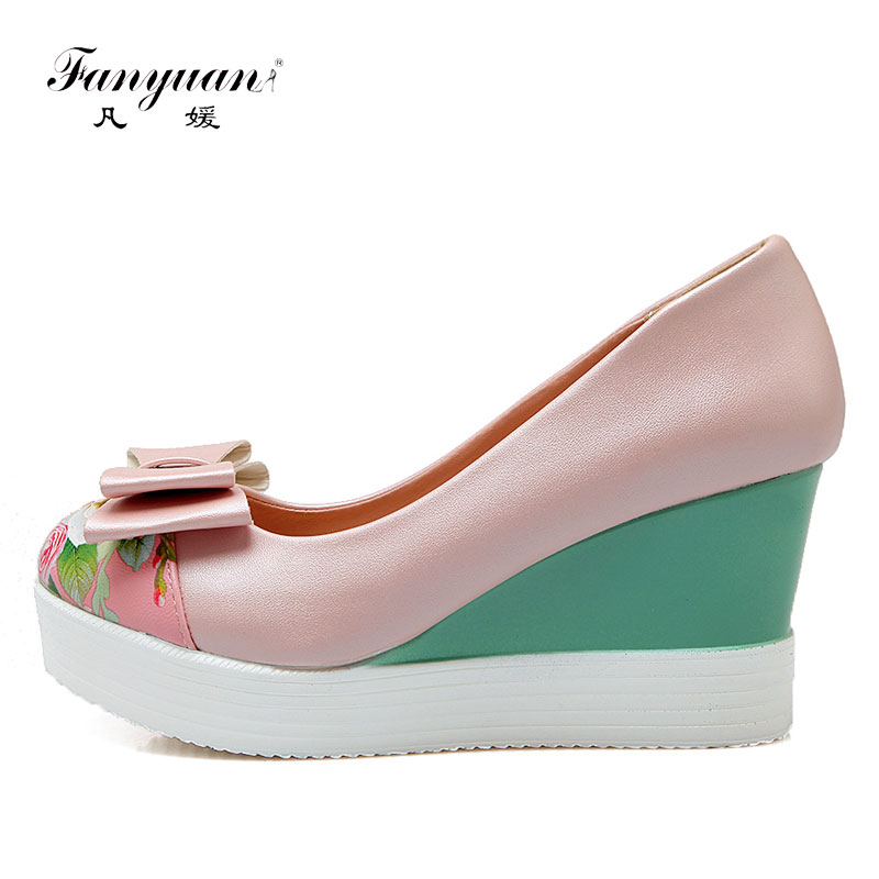 Fanyuan Vogue Shoes Women Wedges High Heels Printed Bowtie Ladies Platform Shoes Slip-On Sweet Women Pumps Plus Size 43Fanyuan Vogue Shoes Women Wedges High Heels Printed Bowtie Ladies Platform Shoes Slip-On Sweet Women Pumps Plus Size 43
