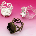 15 мм 10 шт./лот, классика, 2 цвета, покрытие из меди, настраиваемое кольцо, подходит для 15 мм стеклянных кабошонов; кольца - фото