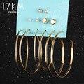 17KM 6pcs/set Punk Women Crystal Disco Ball Women Earrings Set Female Vintage Gold Color Long Leaf Circle Ear Clip Hook Earring