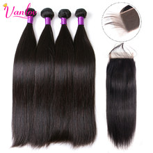 Vanlov Straight Hair 4 Bundles With Closure Remy Human Hair Weave Peruvian Hair Extension 8-28 Inches Jet Black Bundles 5PCS/Lot(China)