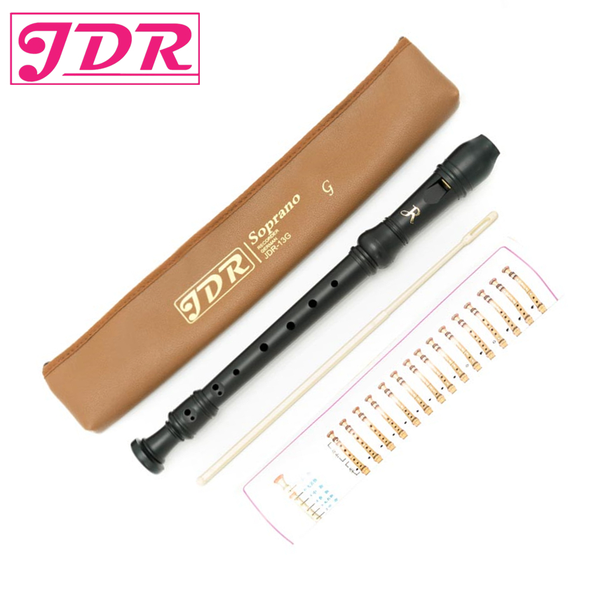 JDR Black ABS Scrub Germany Type 8 Hole Soprano Recorder Long Flute Early Musical For Children Wholesale G Key With Bag Beginner