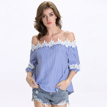 Slash Neck Leaves Hollow Half Sleeve Cuff Sleeve Off Shoulder Tops Shirt Cotton Blue Striped Women Summer Shirt Blouse