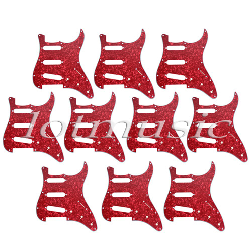 10Pcs Red Pearl Pickguard SSS 3ply For Electric ST Strat Guitar Replacement zipower pm 4110