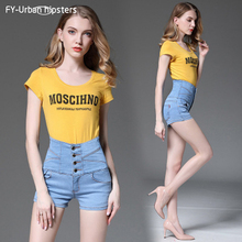 ФОТО women high waist denim shorts summer fashion perfect stretching slim fit high-waisted ladies sexy casual large size jeans shorts