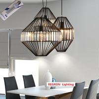 Regron промышленных Творческий подвесные светильники Современный Белый Черный гладить Кристалл висит освещение Bird Cage светило для кафе Lounge
