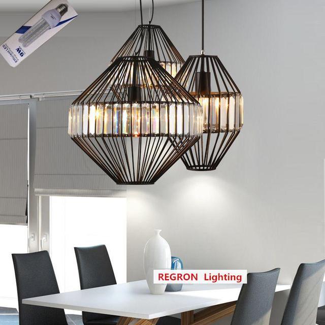 Regron Industrial Creative Pendant Lighting Modern White Black Iron Crystal Hanging Lighting Bird Cage Luminary For Cafe Lounge
