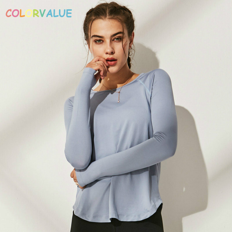 Colorvalue Loose Fit Solid Fitness Sport Shirts Blouse Women Anti-sweat O-neck Workout Running Long Sleeve Tops with Thumb Holes stylish v neck batwing sleeve solid color pleated blouse for women