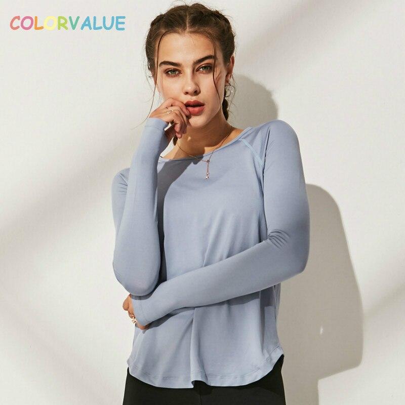 Colorvalue Lose Fit Solide Fitness Sport Shirts Bluse Frauen Anti-schweiß Oansatz Training Läuft Langarm Tops mit Daumen löcher