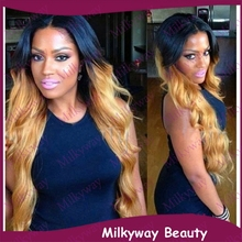 Free Shipping new arrival two tone black to blond wavy lace front wig long ombre heat