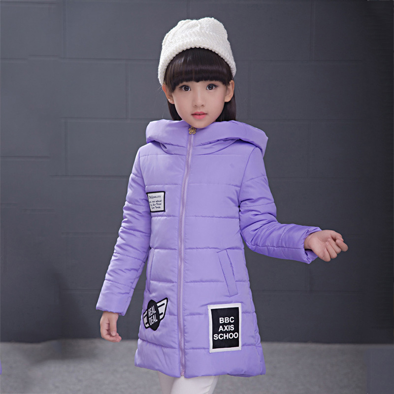 Kids girls winter padded jacket 2016 new baby girls fashion clothing big virgin solid color coat 6/7/8/9/10/11/12/13/14 years цены онлайн