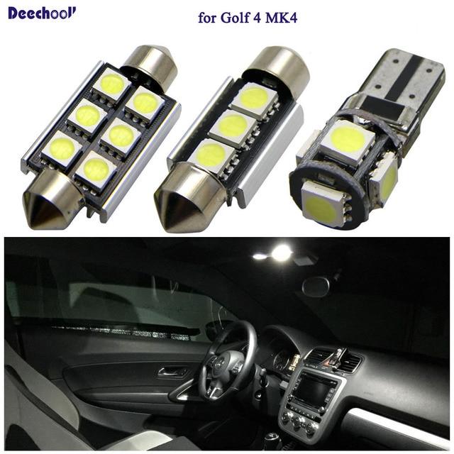 Deechooll 11pcs Car LED Bulbs For VW Golf 4 MK4 ,Canbus White Interior  Light For Volkswagen Golf 4 Dome Reading Door Lights