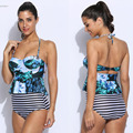 Sexy Mulheres de Biquíni Set 2 Peças Conjunto de Roupas Senhora Mulheres Verão Casual Suits Push up Tops + Shorts
