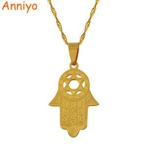 Image 2 - Anniyo collar con hexagrama/colgante de mano de Hamsa, collar Magen David, joyería de Color dorado, islámico árabe, estrella judía, en forma de Palma #006721