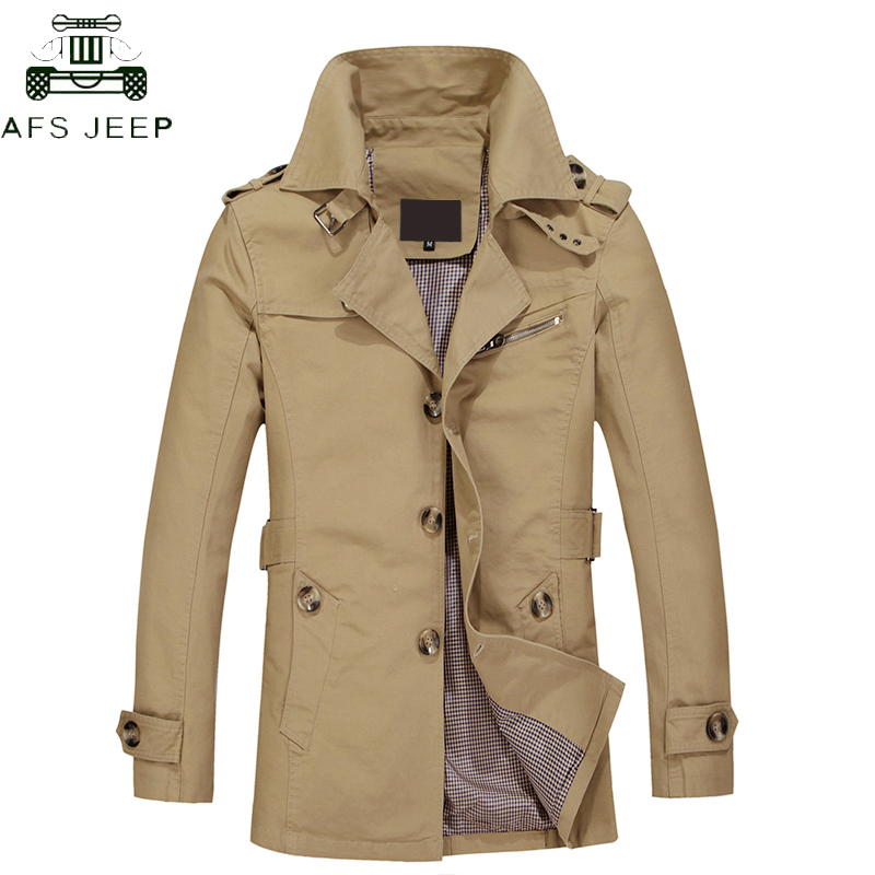Plus Size M-5XL Long Jacket Coat Men Men's   Trench   Coat Cotton Fabric Spring Autumn Trenchcoat Masculina Windbreaker Outwear