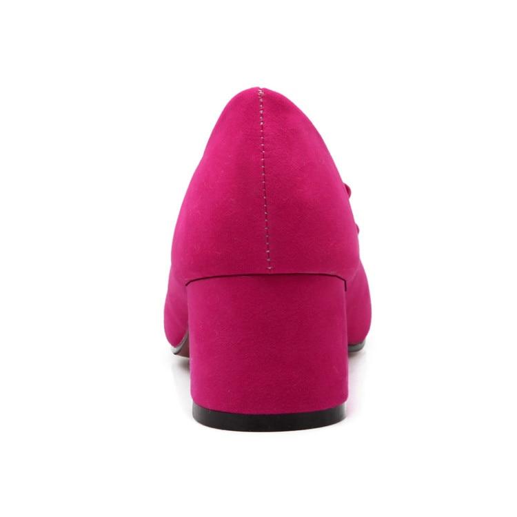 Pompes Xjrhxjr Red Femme Robe pink Bowtie Mode Talon black Grande purple Bureau Bout Chaussures Simples Pointu Dames Doux Troupeau Taille Carré r6rxv