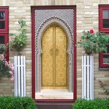 Muslim simulation 3D decoration glass door beauty image door sticker bedroom wooden door home decoration waterproof sticker 3d zebra door sticker
