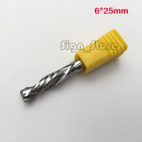 2pcs Up Down Cut 6x25MM Two Double Flute AAA Solid Carbide CNC Router Endmill Compression Wood