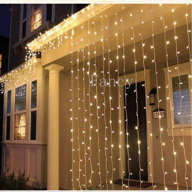 Nova 6 M x 3 M CONDUZIU A Luz Do Sincelo Cortina de Luz de Natal Festa de Natal Festival Indoor/Outdoor Decoração Twinkle Icicle luz cordas
