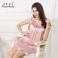XL silk sleepwears summer woman 2017 new female short sleeve loose pink ruffles mini silk sleepshirts nightgowns sleepwears big