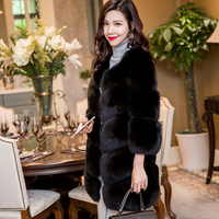 Women Real Natural Fur Fox Coat Winter Warm Genuine Leather Fox Fur Jacket Overcoat Female Long Fur